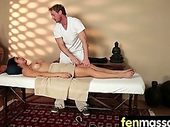 Sexy babe is massaged and fucked at the end of one's tether her masseur 23