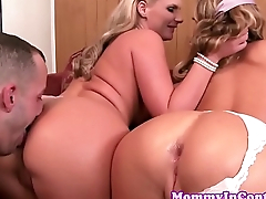 Busty stepmom assfucked in taboo trio
