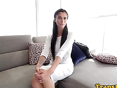 Gorgeous tgirl with bigtits jerking her cock