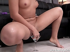 This young slut without equal loves to piss