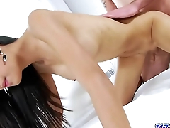 Asian ladyboy fucked in her gaping asshole