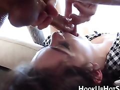 Amateur slut throats cock