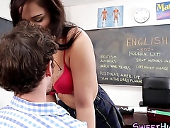 Uniform slut mouth jizz