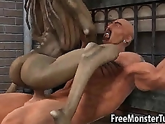 3D cartoon alien babe riding a stud'_s cock outdoors
