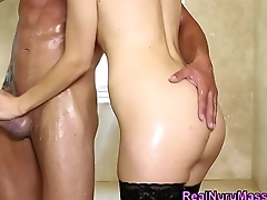 Masseuse tugs in shower