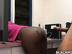 Black booty gets fucked and jizzed at the office