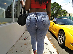 Diamond Monroe walking outdoor and shaking her enormous ass