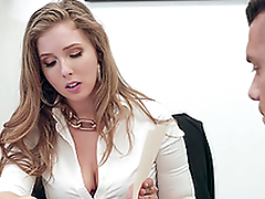Buxom blonde secretary Lena Paul gets cum on huge tits at the office