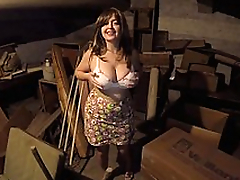 Busty Mom with Huge milf Boobies eats jizz out be incumbent on her own cleavage.
