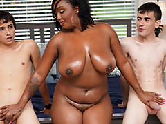 Ebony Dam Having Fun With Stepson and His Friend