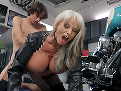 Sally D'Angelo receives pounded by young Ricky Spanish next to her Harley