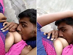 Desi Girl Boob Engulfing Away from lover Outdoor