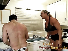 Angry dominatrix with big muscles hurts her husband really bad-6