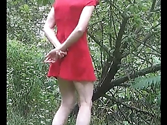 Alfresco in a red dress