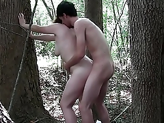 Chubby slut drilled in nature